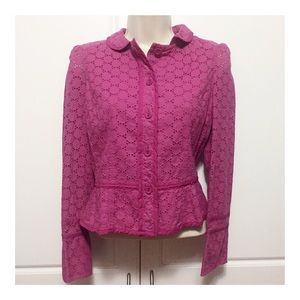 Marc Jacobs Fuchsia Cotton Eyelet Blazer